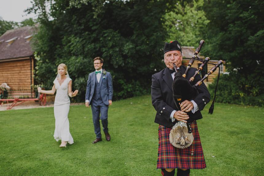 West Midlands wedding photographer bride groom bagpipes