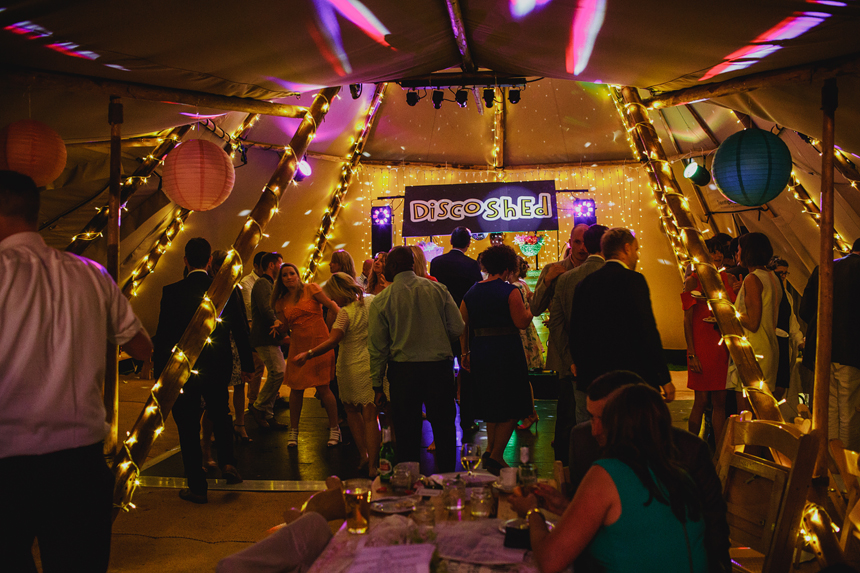 Worcester wedding photographer dancefloor tepee tipi disco shed